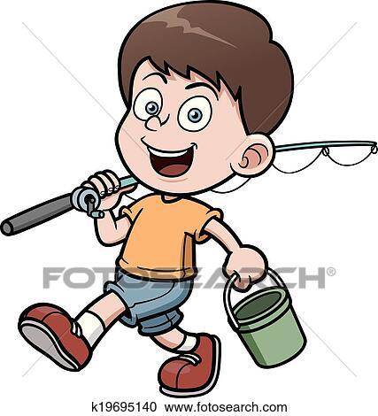 clipart of boy fishing k19695140 search clip art illustration rh fotosearch com boy fishing clipart black and white boy fishing clipart free