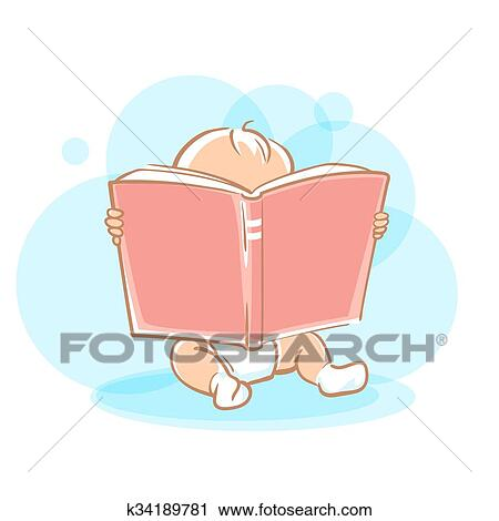 Cute Little Baby Reading Book Clipart K34189781 Fotosearch