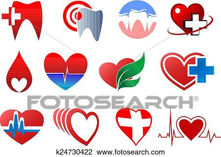 Clipart Of Dentistry Cardiology And Blood Donation Symbols