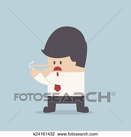 Uomo affari dire bugie naso lungo illustrazione vettore lungo