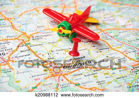Eindhoven, Holland map airplane Stock Image
