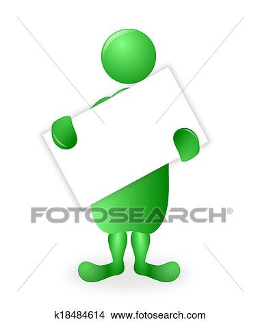 drawings of green 3d character holding a white blank poster board