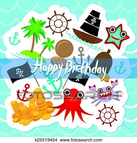 Clipart Of Happy Birthday Card Pirate Cute Party Invitation Animals