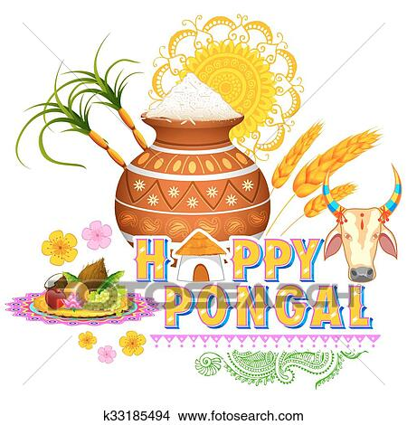 Clipart of happy pongal greeting background k33185494 search clip illustration of happy pongal greeting background m4hsunfo