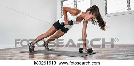 home fitness plank row workout asian woman training arms
