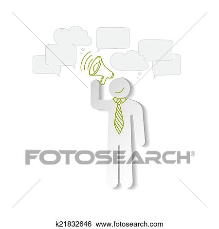 Clip art of paper man with a horn and chart empty bubbles k21832646 clip art paper man with a horn and chart empty bubbles fotosearch search ccuart Images