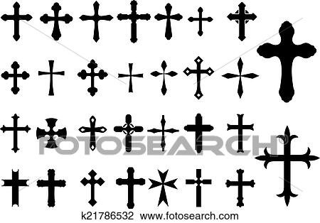 Clipart Of Religion Cross Symbols Set K21786532 Search Clip Art