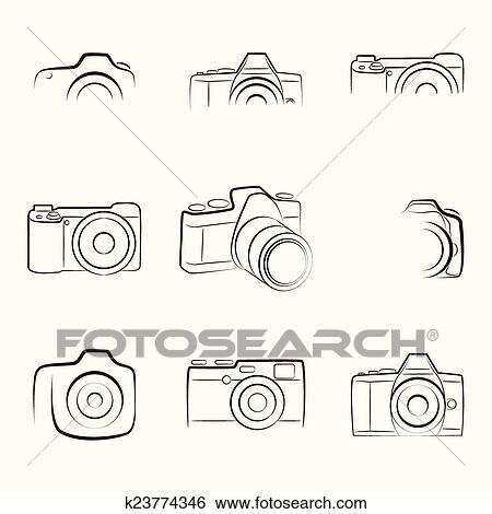 Clip Art Of Camera Outline K23774346 Search Clipart Illustration