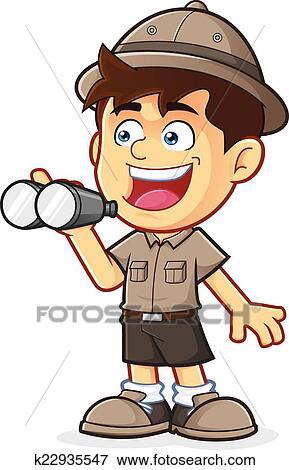 Esploratore ragazzo, con, binocolo Clip Art | k22935547 ...