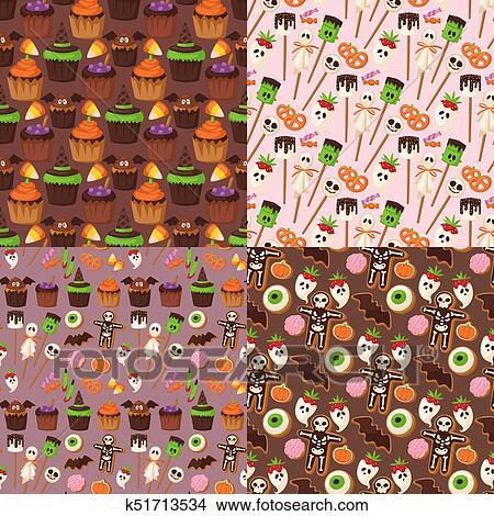 clipart halloween pltzchen seamless muster hintergrund essen nacht kuchen party trick freude sigkeiten vektor illustration - Kuchen Muster
