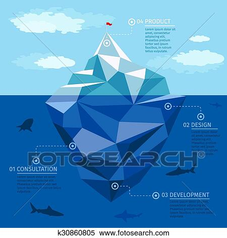 clipart of iceberg infographic vector template business strategy