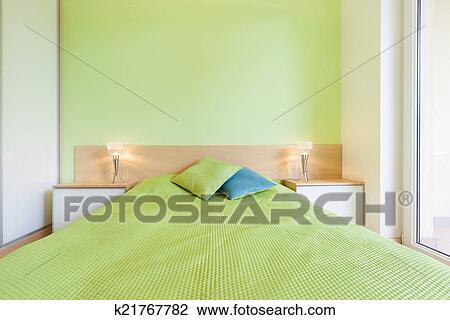 Intérieur, De, Chambre à Coucher, à, Mur Vert, Horizontal