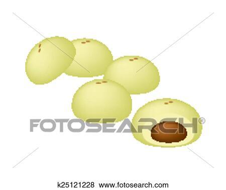 Japanese Sweet of Mochi or Japanese Rice Cake Clip Art