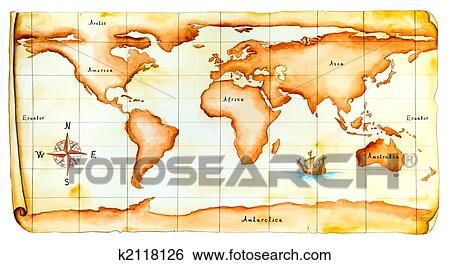 Stock illustration of old world map k2118126 search clip art stock illustration old world map fotosearch search clip art drawings fine gumiabroncs Images