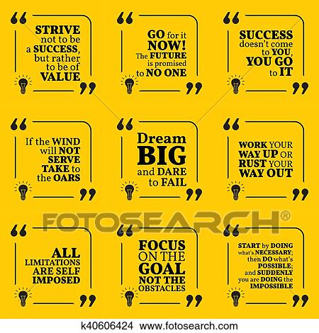 Clipart Of Set Of Motivational Quotes About Action Goals - Quotes about achieving goals and dreams
