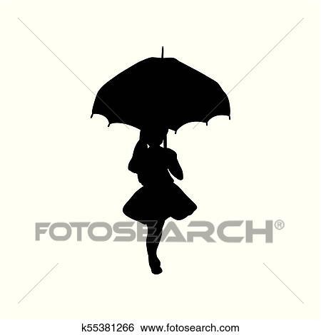 Silhouette Mädchen Halten Schirm In Hände Clip Art K55381266