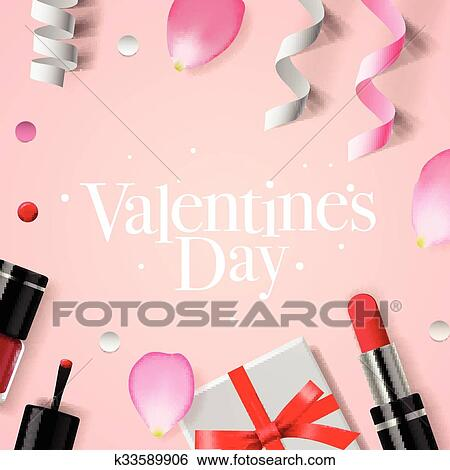 Clip Art Of Valentines Day Background With Gift Box Cosmetics