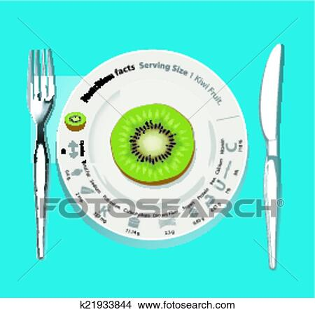 Vector of nutrition facts 1 Kiwi fruit. Healthy concept
