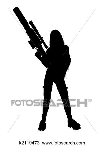 Drawing Of Woman Holding A Gun Silhouette K2119473