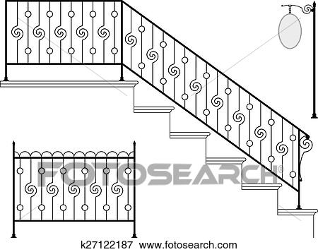 Clip Art Of Wrought Iron Stair Railing Design K27122187 Search