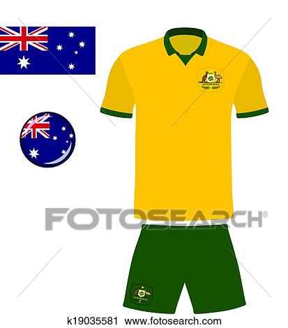02282a04868 Clipart - Australia Football Soccer Jersey. Fotosearch