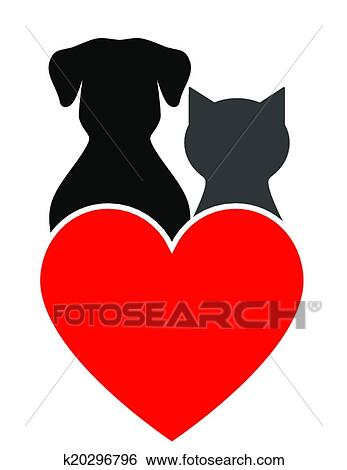 Clip Art Of Dog Cat And Heart K20296796 Search Clipart