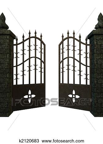 Gate Drawing K2120683 Fotosearch
