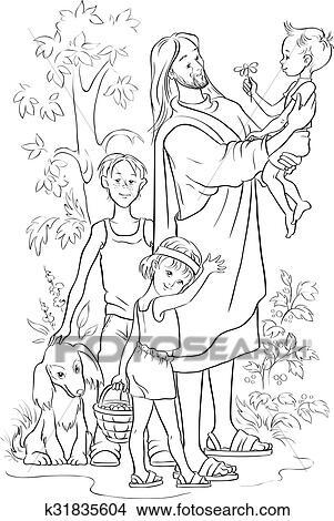 Ausgezeichnet Jesus Mit Kindern Färbung Seite Zeitgenössisch ...