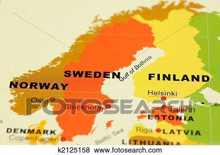 Noorwegen Zweden En Finland Op Kaart Stock Foto K2125158