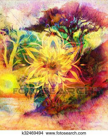 Dessins peinture arbre papier peint paysage et - Mandala paysage ...