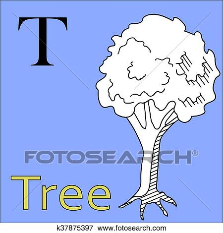 T letter. Vector alphabet. Coloring book tree Clip Art ...