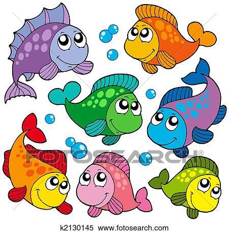 様々 かわいい 魚 コレクション 2 イラスト K2130145 Fotosearch