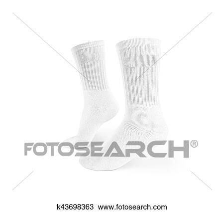 stock photo of blank white socks design mockup isolated clipping