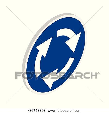 clip art of blue round road sign with white arrows icon k36758898