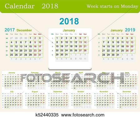 calendar grid for 2018 week starts from monday and from december of the previous year 2017 and january next 2019 includes the week numbers