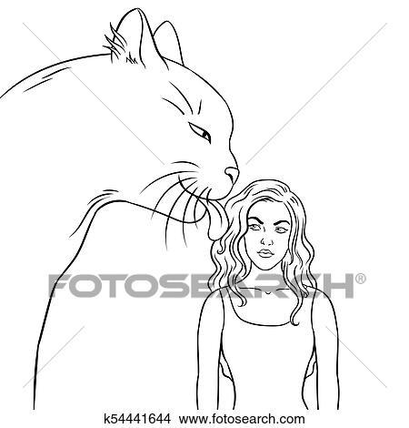 Cat Licks Girl Coloring Book Vector Illustration Clipart K54441644 Fotosearch