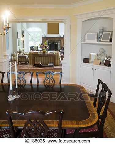 Formale, sala da pranzo, e, lussuoso, soggiorno, in, castello Archivio  fotografico