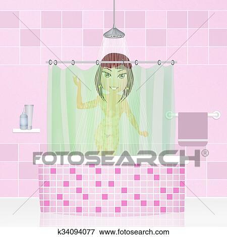 Stock Illustration Frau Duschen K34094077 Suche Clipart