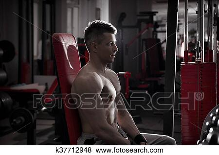 Surprising Handsome Bodybuilder Works Out On Athletic Bench In Gym Alphanode Cool Chair Designs And Ideas Alphanodeonline