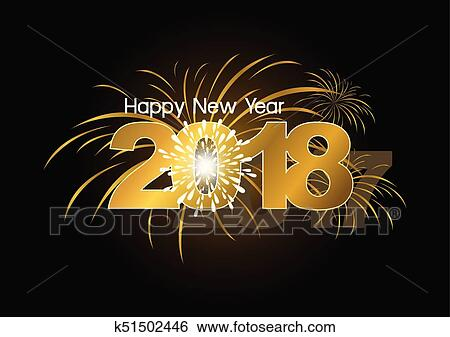 clip art happy new year 2018 with fireworks design fotosearch search clipart