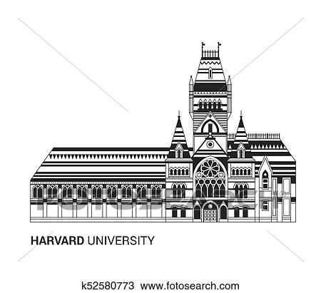 Harvard University Icon Flat Thin Line Vector Illustration