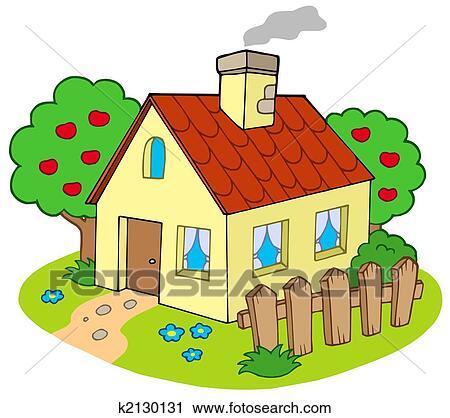 Clipart Haus Mit Kleingarten K2130131 Suche Clip Art