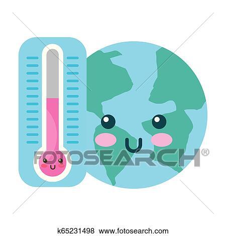 Kawaii Mundo Y Termometro Caricatura Clip Art K65231498 Fotosearch Il termometro a lettura istantanea offre una lettura digitale della temperatura veloce e precisa. kawaii mundo y termometro caricatura clip art