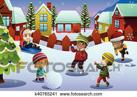 A vector illustration of Kids Playing in the Snow During Winter Season