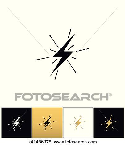 Lightning thunderbolt sign or strike electric bolt vector icon Clip Art