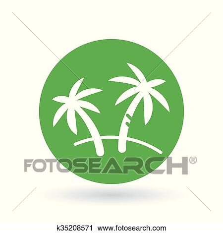 Clipart Of Palm Tree Icon Coconut Tree Sign Paradise Tropical Tree