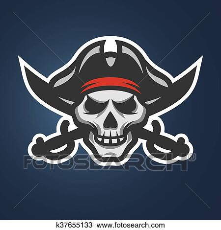 Clipart Of Pirate Skull And Crossed Swords K37655133 Search Clip