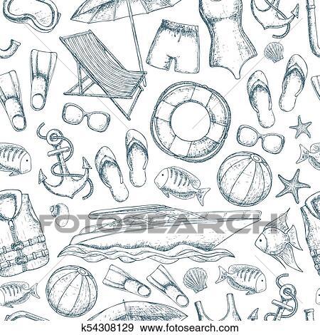 Seamless, fond, de, plage, grandes vacances, accessoires, croquis, dessin  animé, illustration., vecteur