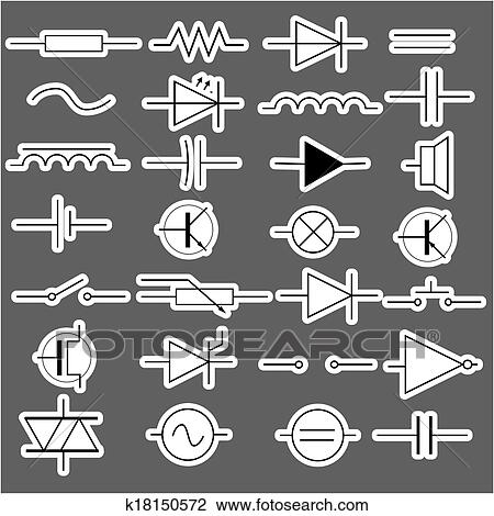 Clipart of schematic symbols in electrical engineering stickers ...