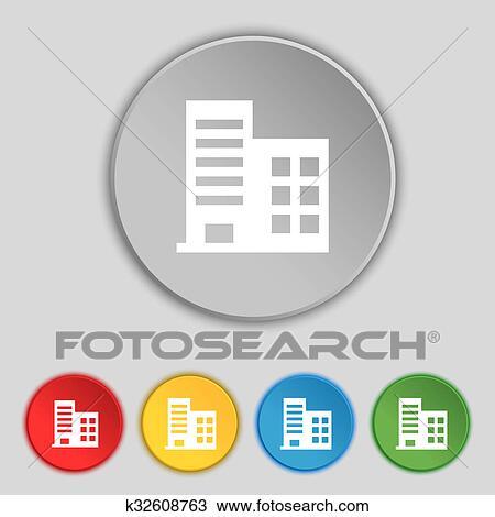 Dibujo - torre, comercial, edificios, y, residencial, apartamentos ...